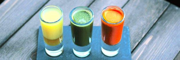 Three glasses of fresh juice
